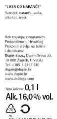 LIKER NARANČA - deklaracija