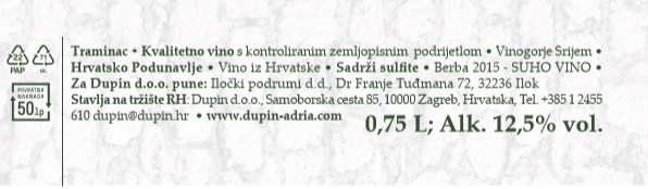 VINO TRAMINAC - deklaracija