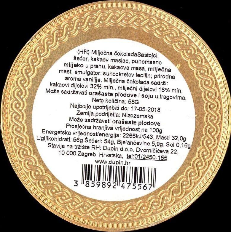 ČOKOLADNI MEDALJON DUBROVNIK - deklaracija