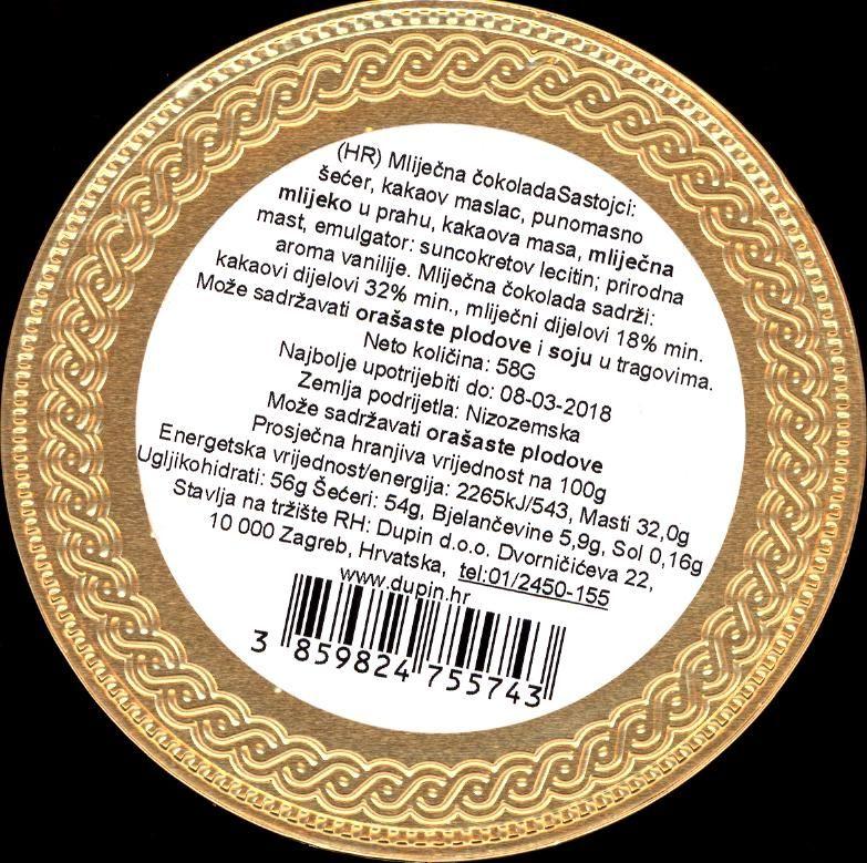 ČOKOLADNI MEDALJON SPLIT - deklaracija